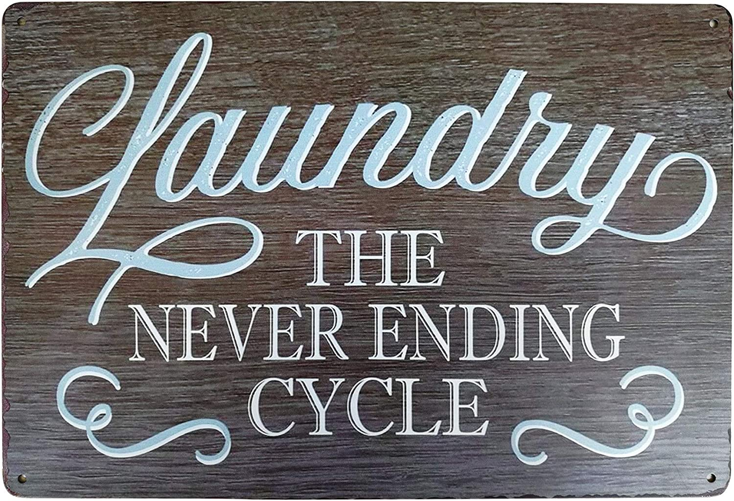 PXIYOU Rustic Laundry Room Wall Decor Vintage Metal Sign The Never Ending Cycle Bathroom Wash Room Signs Farmhouse Country Home Decor 8X12Inch