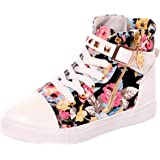 Serene High Top Sneakers For Women and Girls With Lace-up In Canvas and Leather