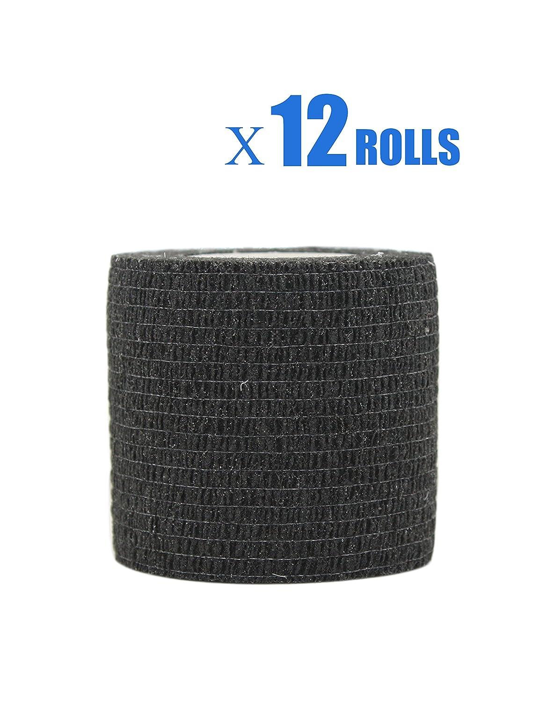Risscly Schwarz 5cm cohesive Bandage,selbsthaftende fixierbinde verband bandage mullbinden selbsthaftend bandagen 12 Rollen