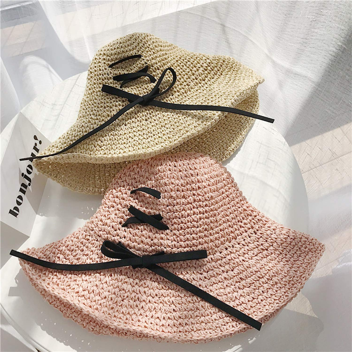 Straw Bucket Hat with Bowknot Cross Straps Fishing Hats Beach Sun Protection Caps