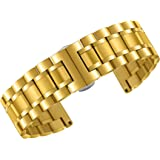 17mm Women's Luxurious 316L Gold Stainless Steel Metal Watch Wristbands Straps Straight End Quick Release Clasp