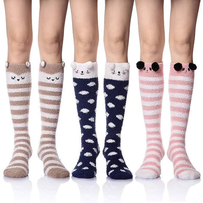 30f98e63165 Womens Girls Soft Warm Knee High Stockings Animal Calf High Winter Plush  Fuzzy Socks (3