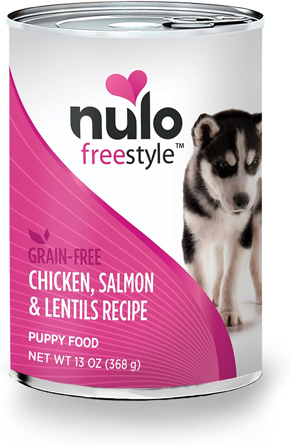 Nulo Puppy Grain Free Canned Wet Dog Food (Chicken Salmon & Lentils Recipe, 13 oz, Case of 12)