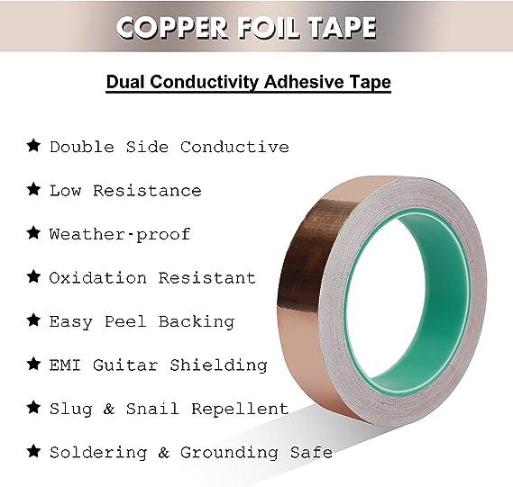 blindar de EMI puesta a tierra y soldar ASIV 20 mm X 20 m cinta de cobre hoja cinta adhesiva conductora de doble cara para guitarra