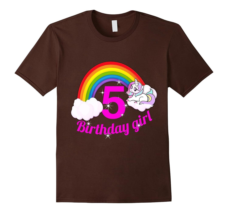 5th Birthday Girl Shirt Princess Rainbow Unicorn RT
