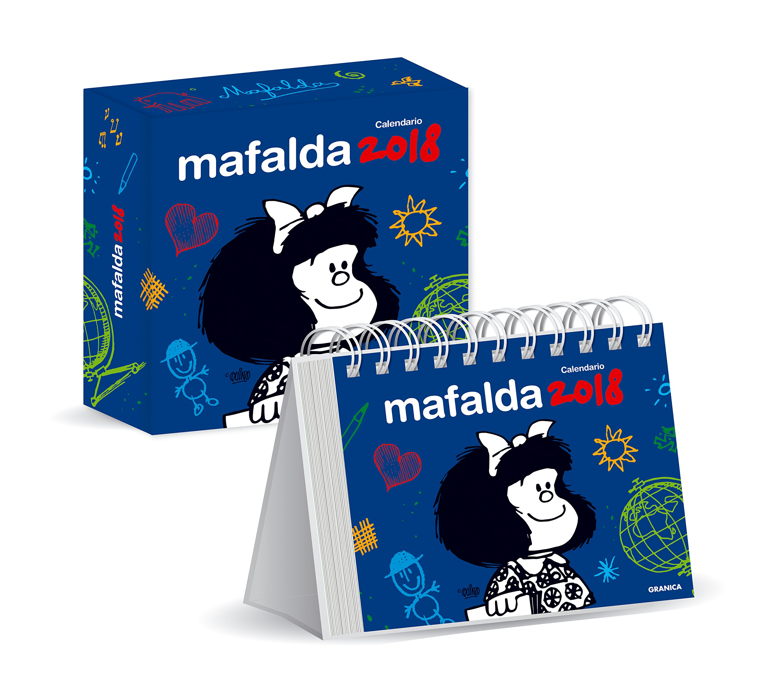Mafalda 2018 Calendario de escritorio con caja - Azul (Spanish Edition): Quino: 7798071445105: Amazon.com: Books