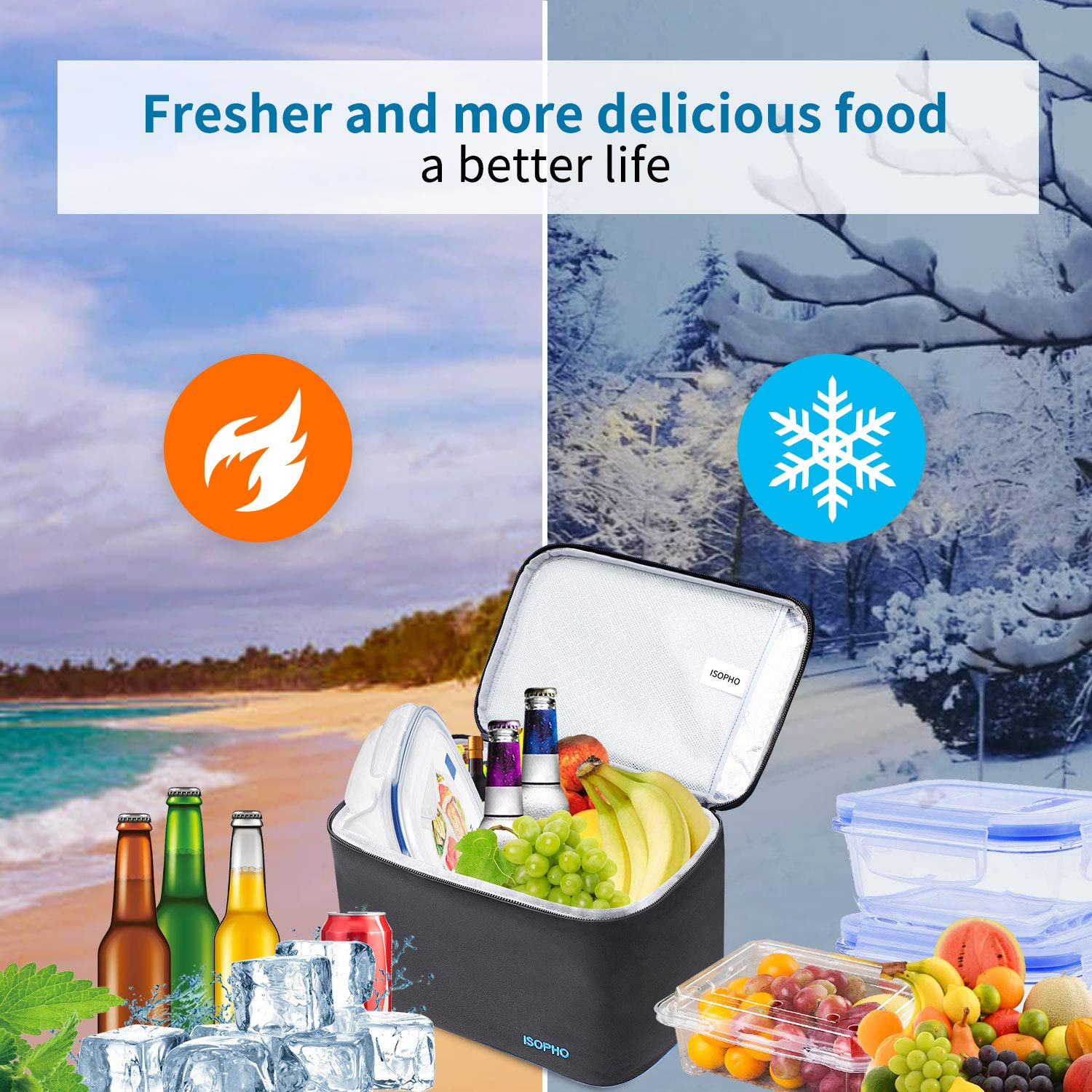 Cool Lunch Bag ISOPHO Picnic Cool Bag 7L Lunch Box for Adults/Men/Women/Kids, Leakproof Insulated Lunch Bag for Work, School, Camping, Black and Light Portable Adjustable Shoulder Strap