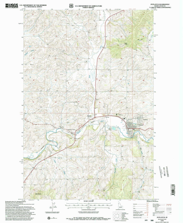 Potlatch Idaho Map.Amazon Com Yellowmaps Potlatch Id Topo Map 1 24000 Scale 7 5 X