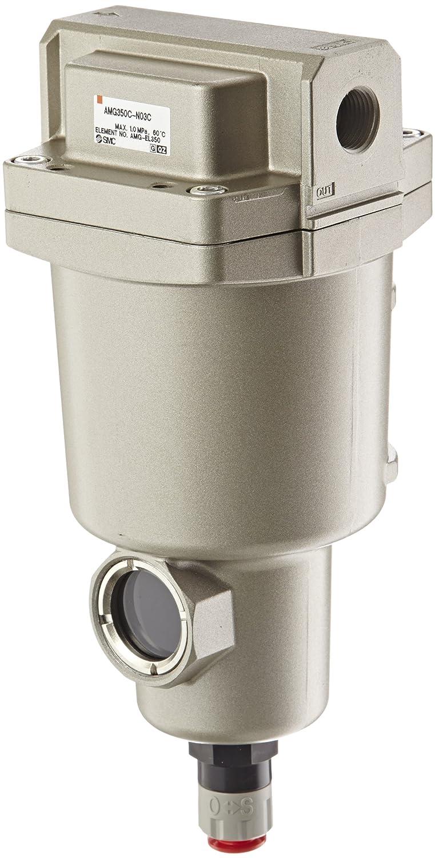 SMC AMG350C-N03C Water Separator, N.C. Auto Drain, 1,500 L/min, 3/8' NPT 3/8 NPT