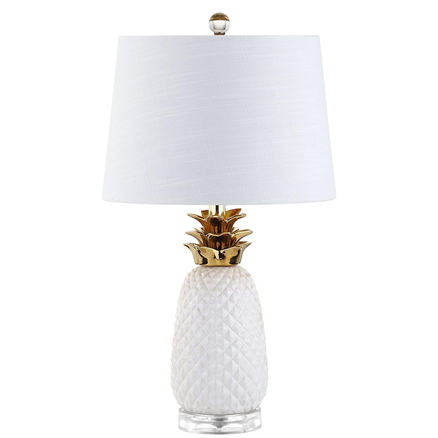 """Pineapple 23"""" Ceramic LED Table Lamp, White/Gold, Modern, Contemporary, Bulb Included"""