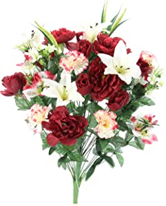 Admired By Nature ABN1B001-BG/CM 40 Stems Artificial Full Blooming Lily, Rose Bud, Carnation and Mum with Greenery Mixed Flower Bush, Burg/Cream, BG/cm