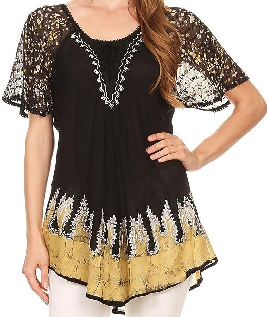 Sakkas 786 - Cora relajó la Batik Diseño del Casquillo del Bordado Blusa de Las Mangas