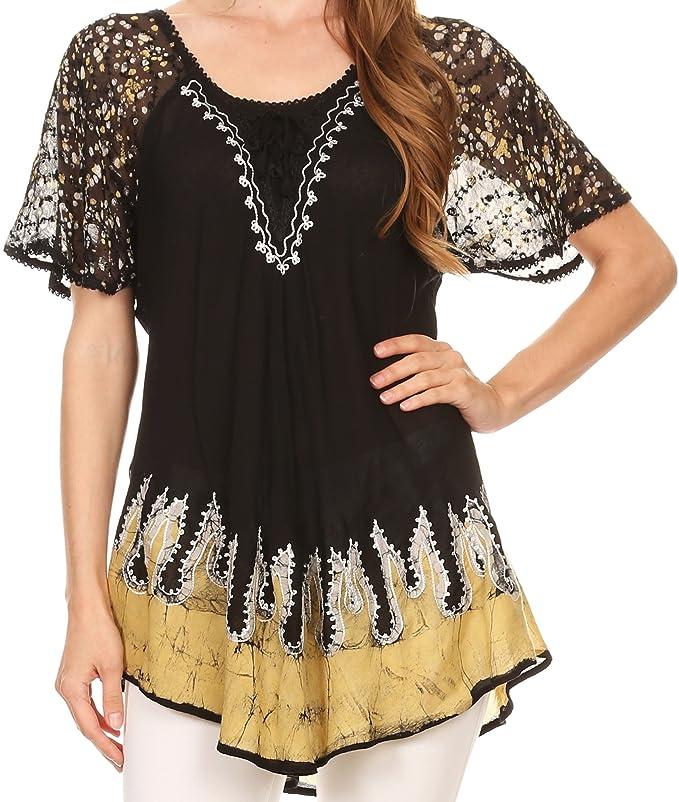 Sakkas 786 - Cora relajó la Batik Diseño del Casquillo del Bordado Blusa de Las Mangas/Top - Negro/Amarillo - OS: Amazon.es: Ropa y accesorios