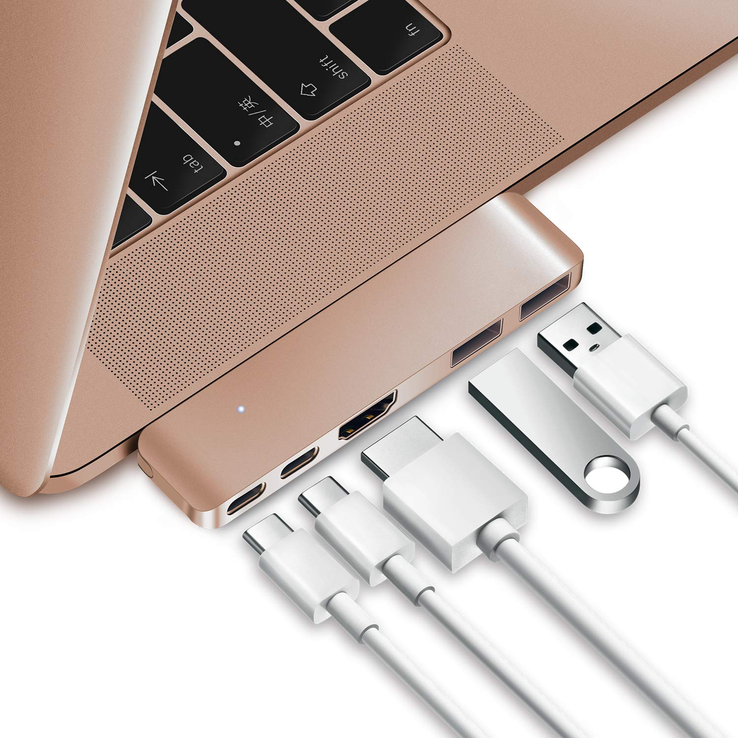 Purgo USB C Hub Adapter Dongle for MacBook Air 2018/2019, Ultra Slim Type C Hub with 4K HDMI, 100W Power Delivery, 40Gbps Thunderbolt 3 5K@60Hz and 2xUSB 3.0 (Gold)