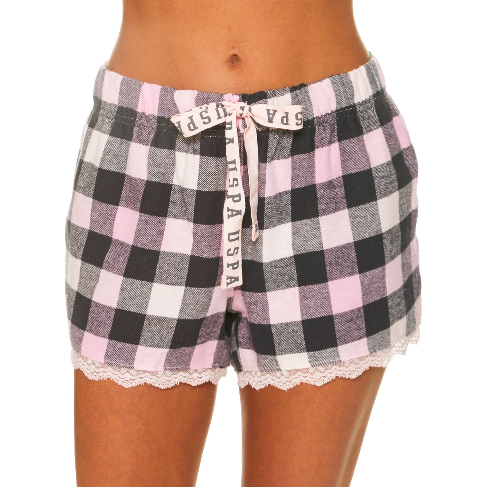 U.S. Polo Assn.. Womens Plaid Flannel Pajama Lounge Shorts with Lace Trim Pink Medium