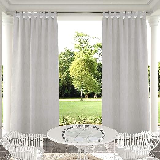 132x305cm Blanco Gris Cortinas para Exteriores de Velcro, Resistentes al Viento, Resistentes al Agua, Resistentes a la harina, para jardín, balcón, casa de Playa, vestíbulo, Cabana: Amazon.es: Jardín