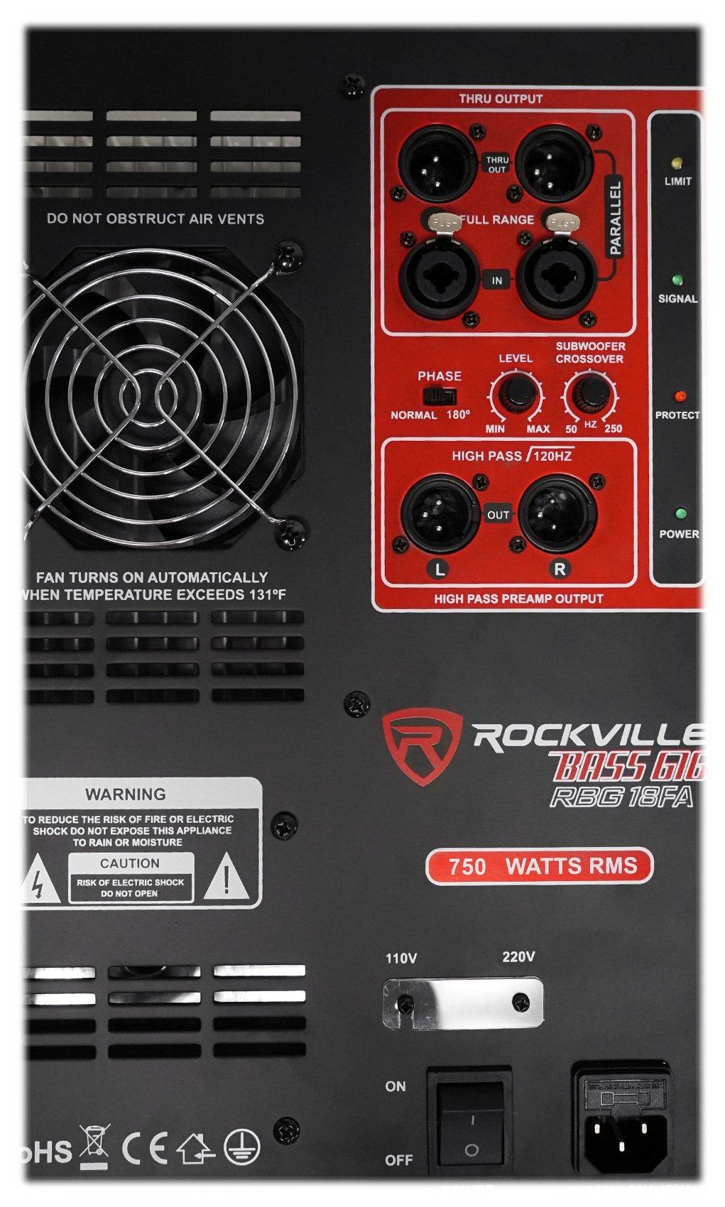 Rockville RBG18FA 18'' 3000w Active Powered Pro Subwoofer Folded Horn PA/DJ Sub by Rockville (Image #4)