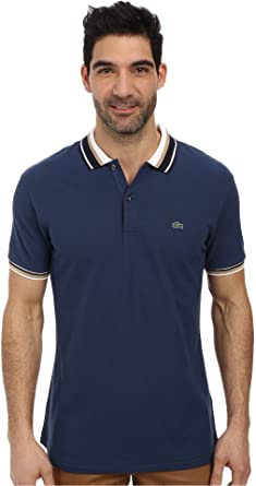 a201ab180e Lacoste Men's Slim Fit Pique Polo with Neo-Piping, Philippines Navy ...