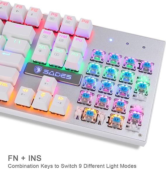 SADES K10 Multicolor LED retroiluminada USB con cable mecánico teclado para juegos con azul interruptores (color blanco)