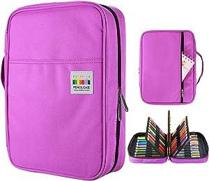 YOUSHARES 220 Slots Colored Pencil Case, 145 Slots Gel Pens fo Coloring Case Organizer, Handy Multilayer Color Pencil Holder for Glitter Gel Pens, Refills, Colored Pencils (Purple)