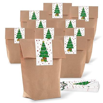 25 pequeñas weihnac marrón papel kraft bolsas de regalo ...
