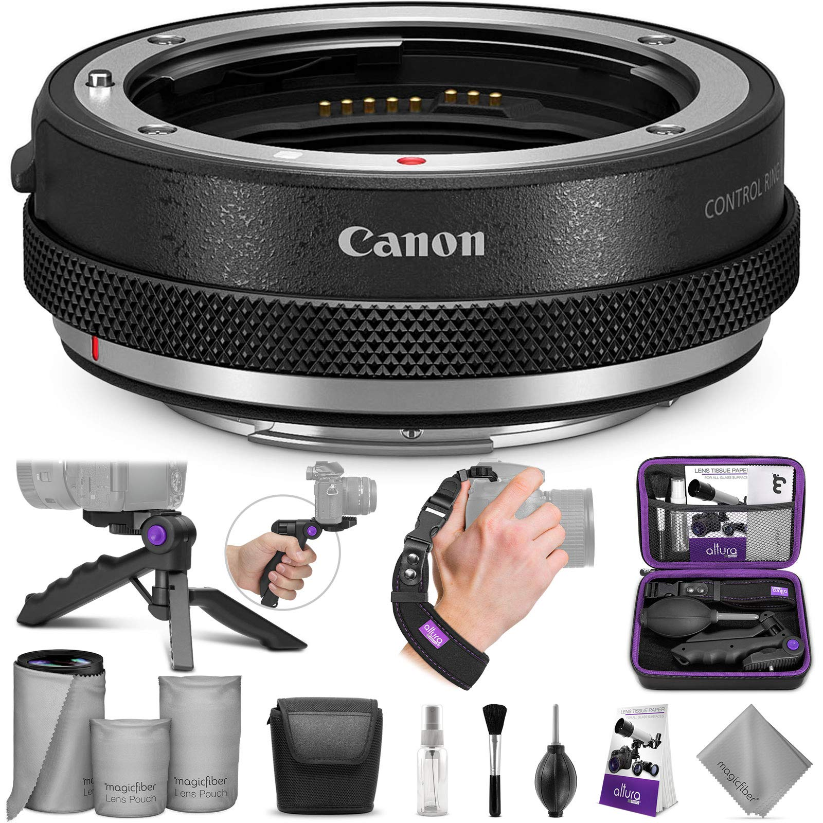 Canon Control Ring Mount Adapter EF-EOS R with Altura Photo Essential Accessory Bundle by Canon