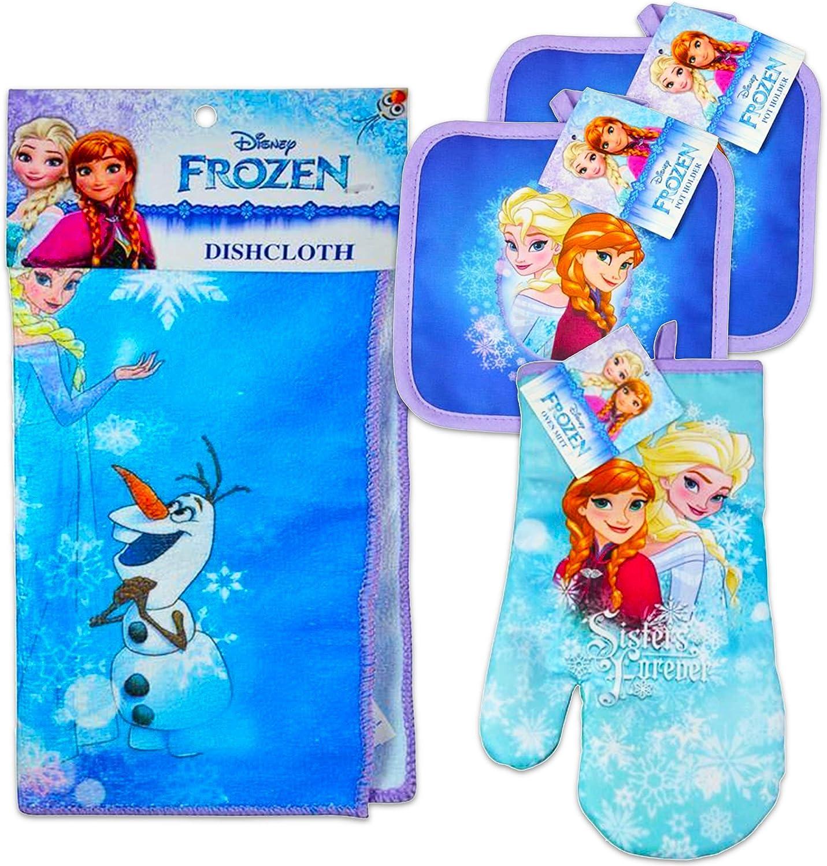 Disney Frozen Kitchen Set - 4 Pc Set Kitchen Towel, Oven Mitt & 2 Pot Holders (Elsa & Anna)