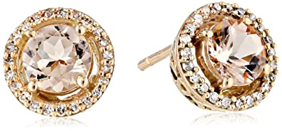 1aa05b1e95942c 10K Rose Gold Morganite Round with Diamond Halo Stud Earrings