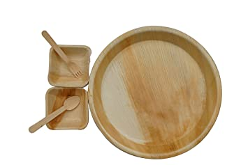 Somani palm leaf Disposable Plate disposable bowl disposable spoon - 100% Natural round plates(12 inch x 12 inch) Square bowls (4 inch x 4 inch) 100 wooden ...  sc 1 st  Amazon.in & Somani palm leaf Disposable Plate disposable bowl disposable spoon ...