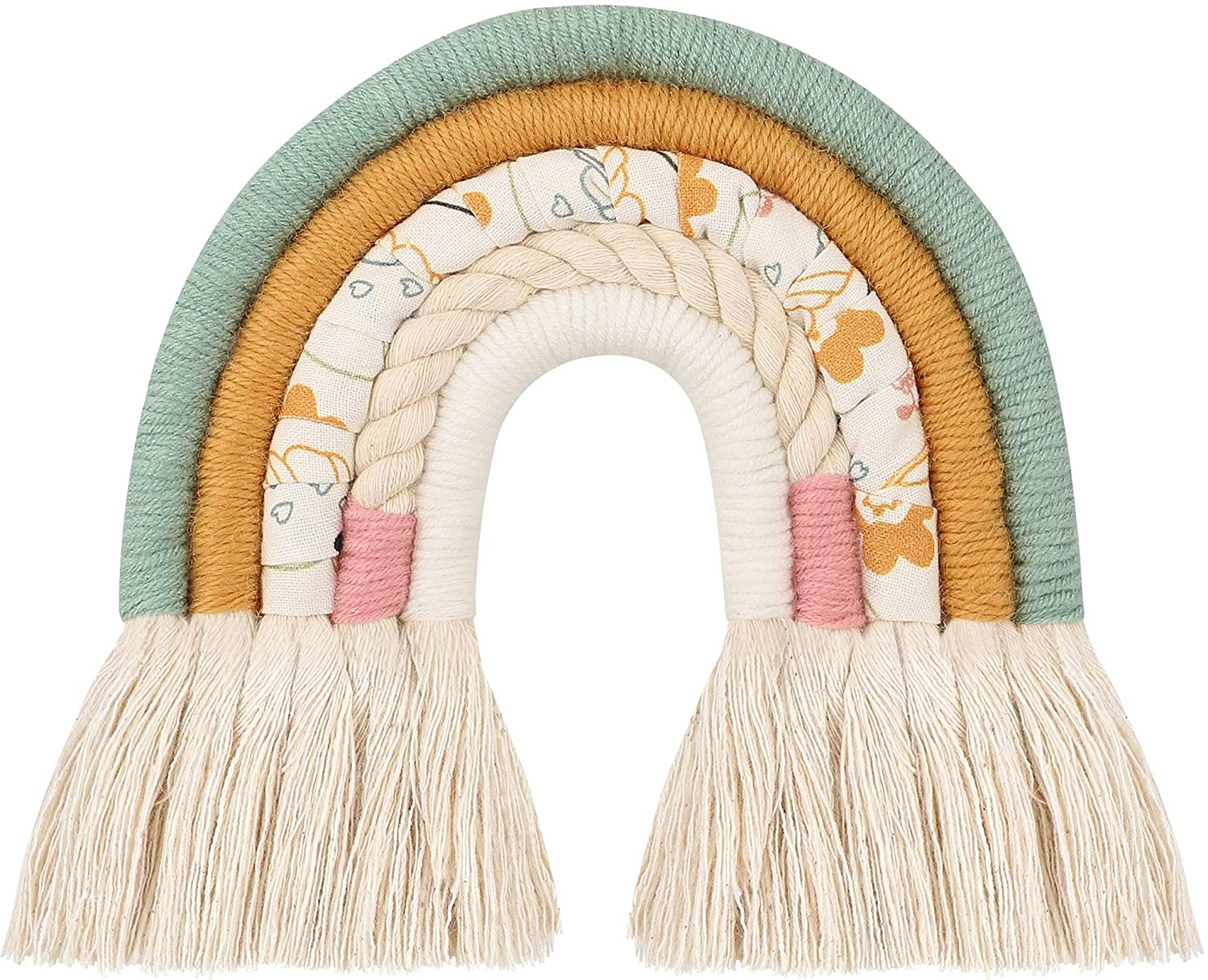 Peggy ZJ Rainbow Wall Hanging, Nordic Woven Rainbow Wall Hanging, Boho Decor Macrame Rainbow Wall Hanging for Baby Girls Kids Nursery Rooms,Modern Home Hanging,Green Pattern Cloth(8.2x8.2 inches