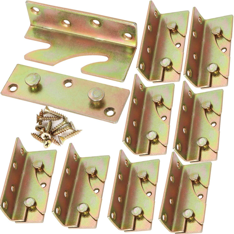 Bed Frame Brackets Set of 12, No-Mortise Bed Rail Brackets, Heavy Duty Rust Proof Bunk Bed Frame Hardware, Metal Bed Corner Brackets for Wooden Bed Frames, Headboards, Wooden Furniture, Include Screws