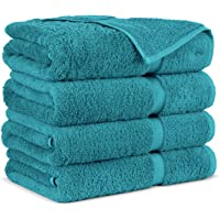 Towel Bazaar Premium Turkish Cotton Super Soft and Absorbent Towels (4-Piece Bath Towels, Aqua Blue)