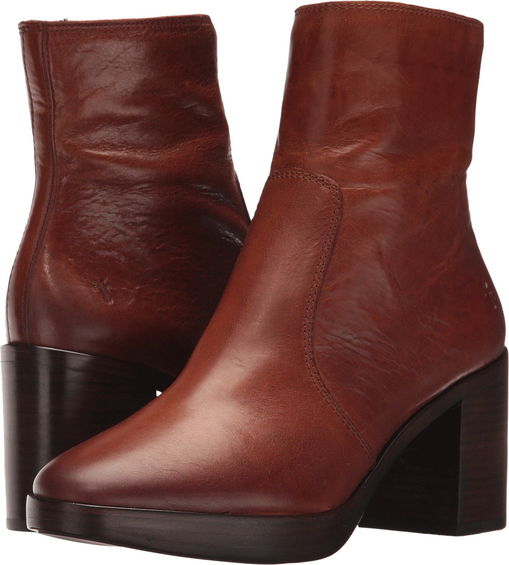 FRYE Women's Joan Campus Short Boot, Redwood Smooth Antique Pull up, 8 M US