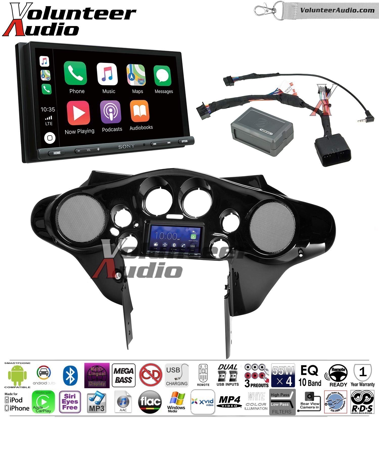 Sony XAV-AX5000 Double Din 7'' Touch Screen w/ Apple CarPlay, Android Auto, Bluetooth Install Kit for 98-13 Harley Davidson Batwing Fairing, Non-Road Glide Models Factory Matched Harley Vivid Black