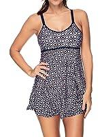 Zando Vintage Colorblock One Piece Swimsuits Tummy Control Swimwear Adjustable Straps Bathing Suit Swimdress For Women
