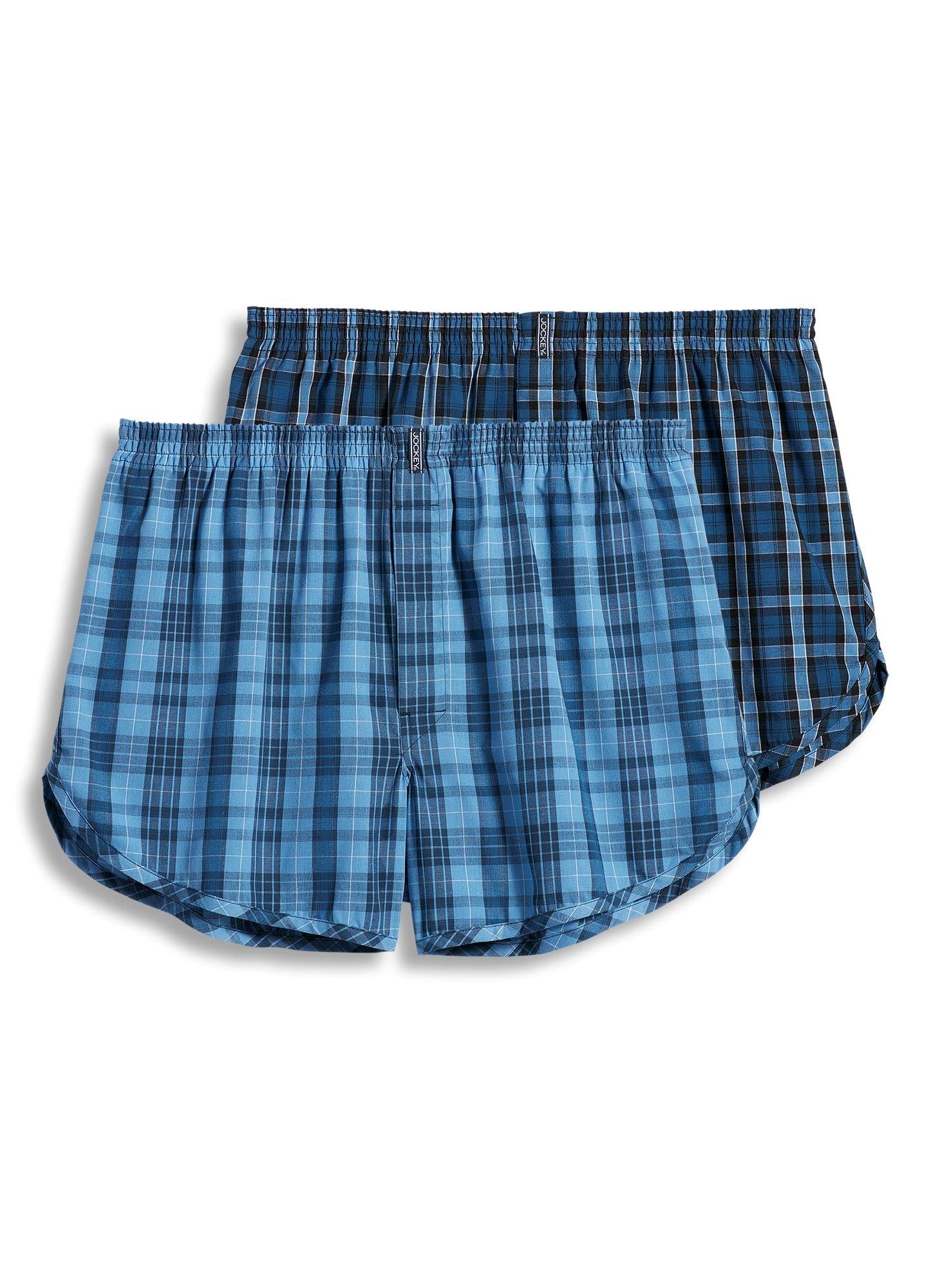 Jockey Men's Underwear Tapered Boxer - 2 Pack, blue plaids, L