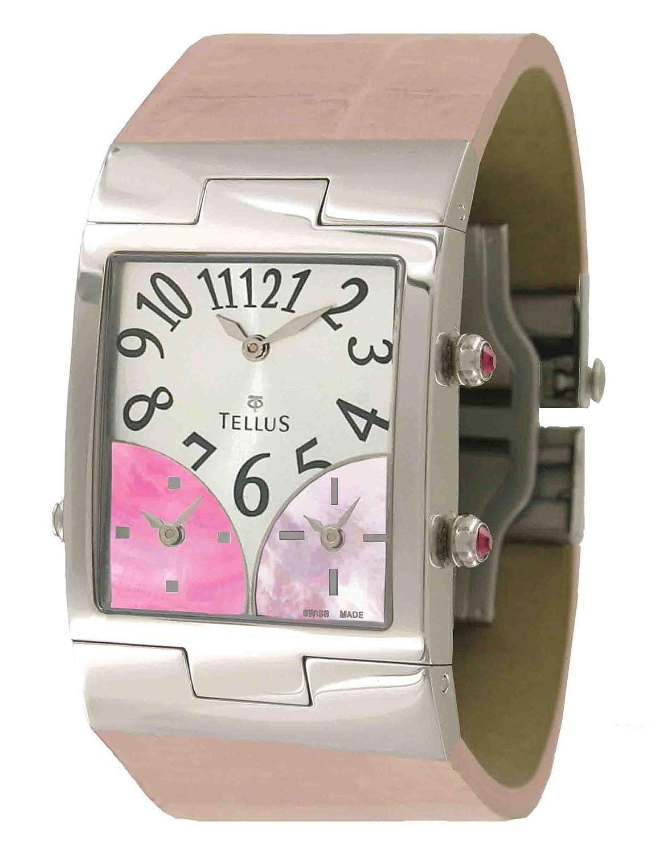 Tellus - Trois quartiers - Damen Armbanduhr Silber aus Edelstahl - Armband Rosa aus Alligator - in Schweiz hergestellt -