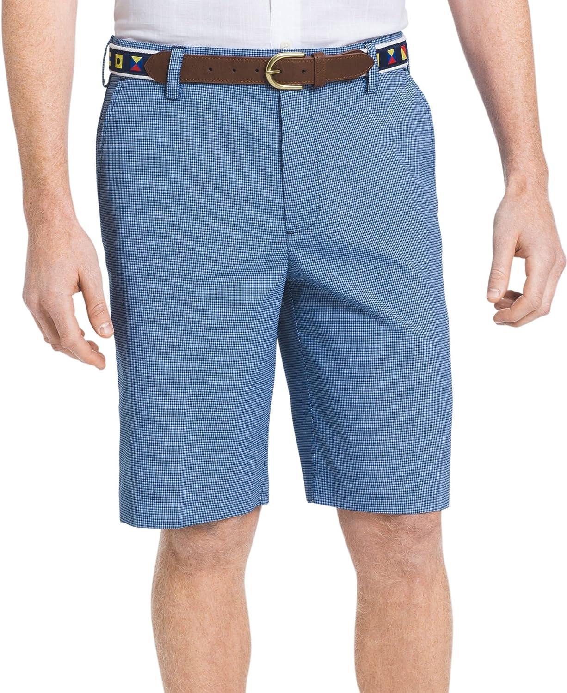 IZOD Men's Flat Front Plaid Microfiber Short