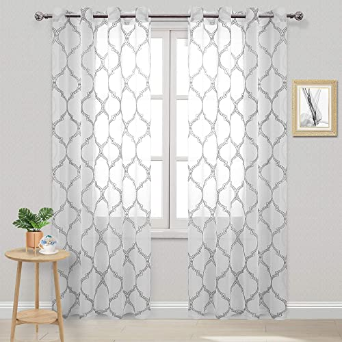 DWCN Grey Moroccan Embroidered Tile Sheer Curtain