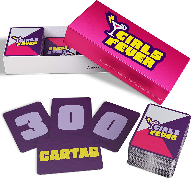 ZENAGAME Girls Fever - Juego de Cartas para Mujer - 300 Cartas - Juego de Cartas para Beber Entre Chicas - Juego Despedida de Soltera en Espanol - Juego de Mesa Adultos Mujer