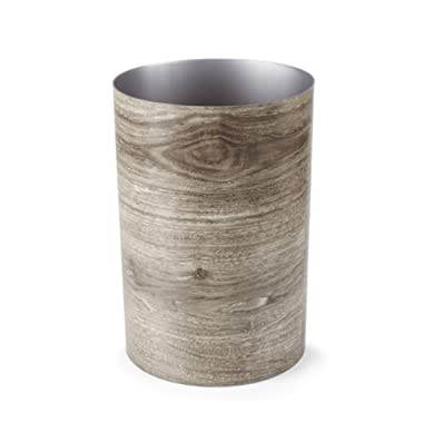Umbra Treela Small Trash Can – Durable Garbage Can Waste Basket for Bathroom, Bedroom, Office and More | 4.5 Gallon Capacity with Stylish Barn Wood Exterior Finish