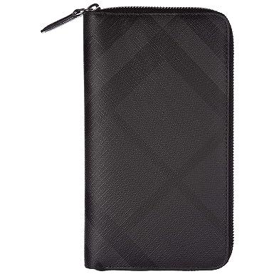 e42829b7471b Burberry portefeuille porte-monnaie homme deux plis london check zip around  noir