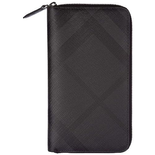 Burberry monedero cartera bifold de hombre nuevo london check zip around negro: Amazon.es: Zapatos y complementos