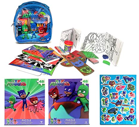 Warp Gadgets Bundle - Pj Masks Raised Sticker Sheet, 2 Pj Masks 48Pc Puzzles And