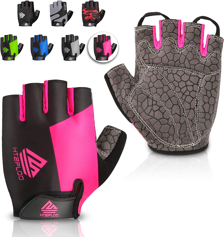 HTZPLOO Bike Gloves Cycling Gloves Mountain Bike Gloves for Men Women with Anti-Slip Shock-Absorbing Pad, Light Weight, Nice Fit, Half Finger Biking Gloves : Clothing