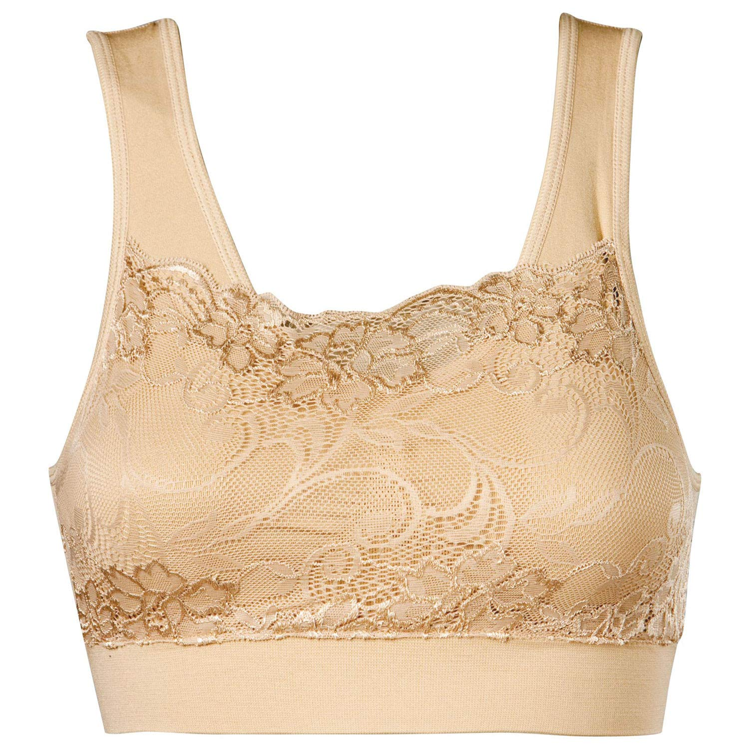 Genie(r) Bra Women's Milana Bra with Lace Overlay and Removable Pads - Nude