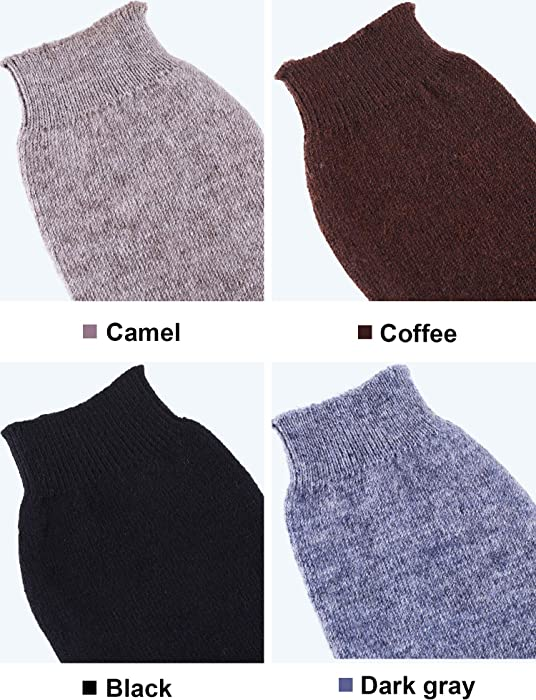 4 Pairs Cashmere Feel Fingerless Gloves with Thumb Hole Warm Gloves for Women and Men