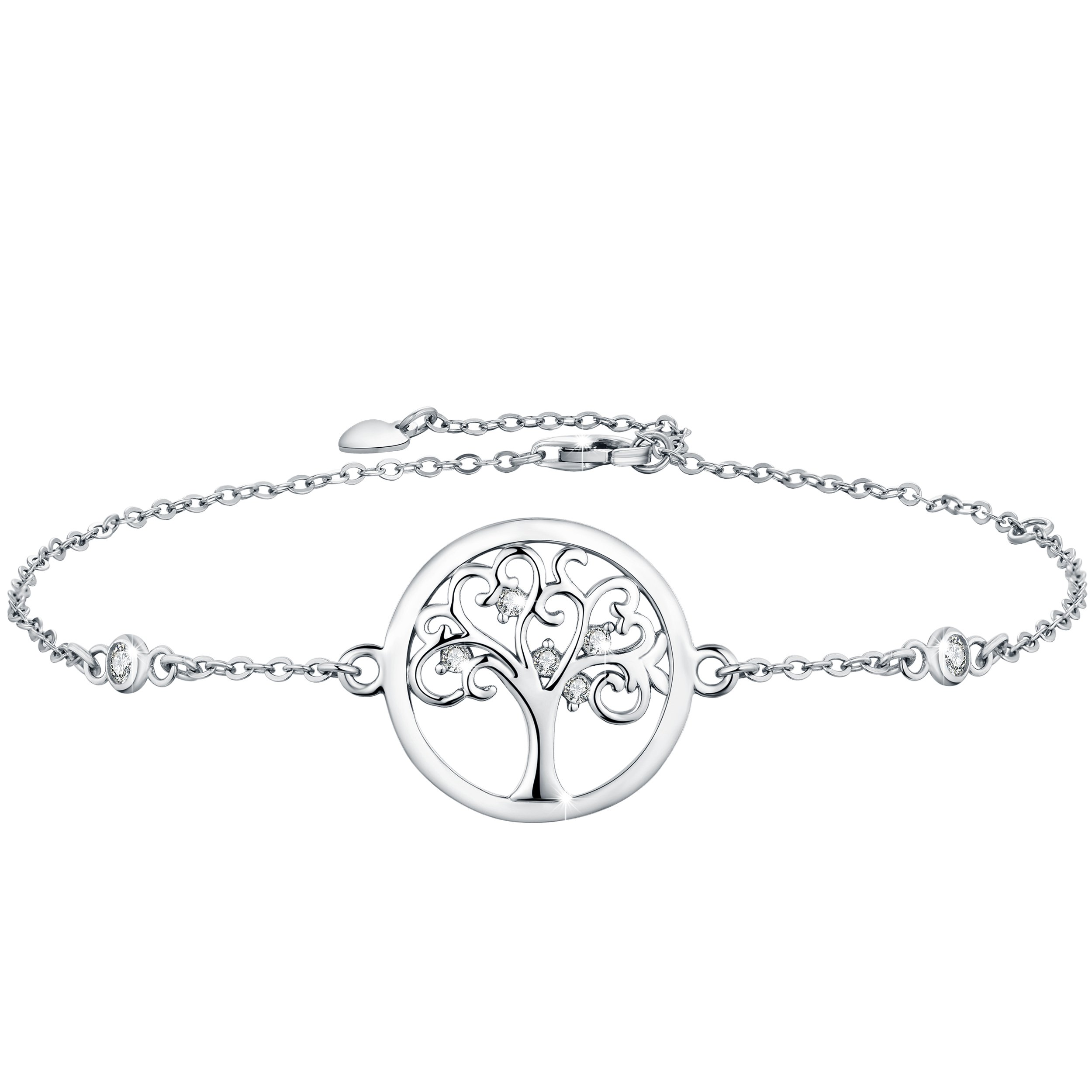 Boniris 925 Sterling Silver Tree of Life Bracelet Womens Handmade Wristband with Cubic Zirconia for Mother's Day, Birthday and Graduation Season