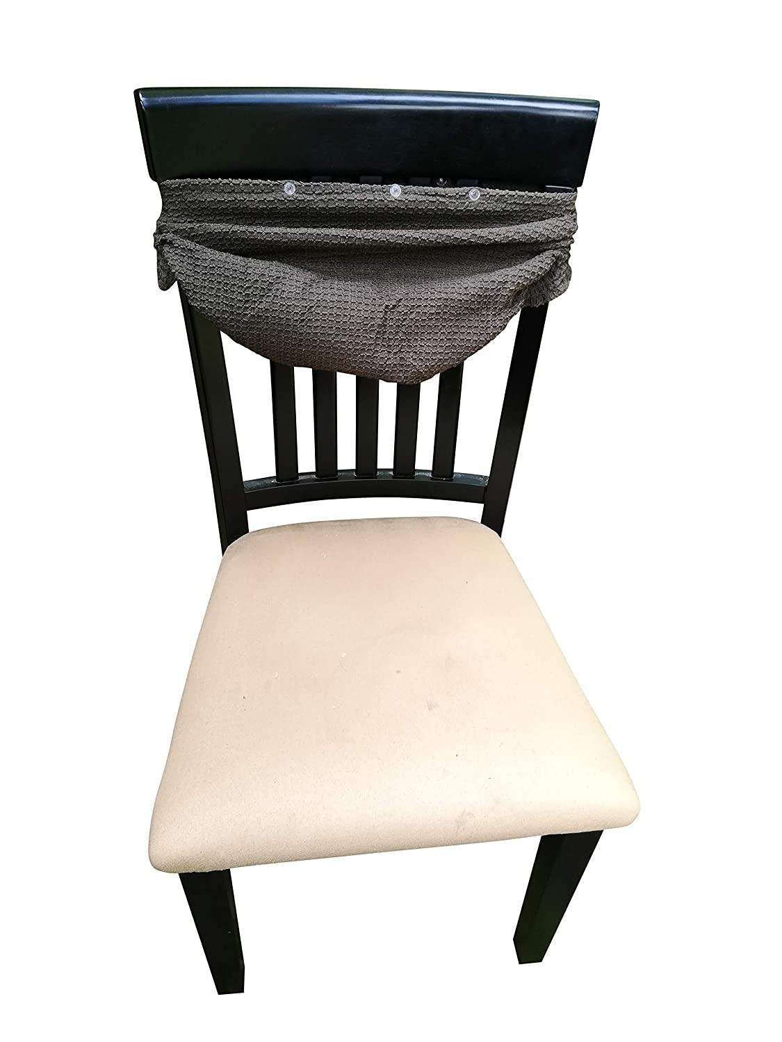 Waterproof Dining Chair Cover Protector - Pack 2 - Perfect For Pets, Kids, Elderly, Restaurants, Party - Machine Washable, Snugly Fit, Removable, Clean the Mess Easily (Faded Brown(with buttons))