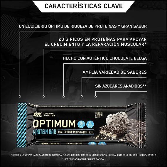 Optimum Nutrition ON Protein Bar barritas proteínas con whey protein isolate, dulces altas en proteína y low carb, galletas y crema, 10 barras (10 x ...